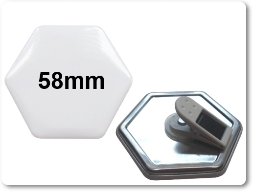 58x65mm Hexagonal-Button mit 360° Kunststoffclip