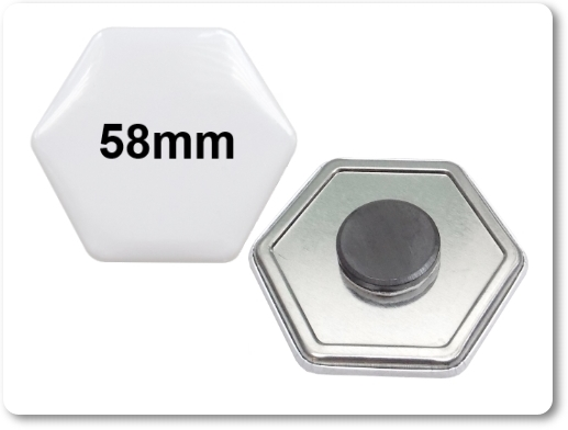58x65mm Hexagonal-Button als Tafelmagnet
