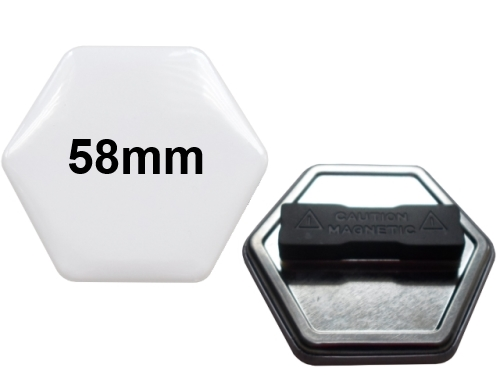 58x65mm Hexagonal-Button mit Doppel-Textilmagnet