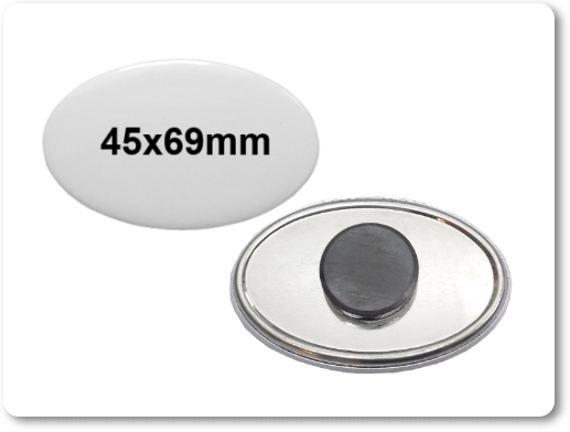 45x69mm ovale Button als Tafelmagnet