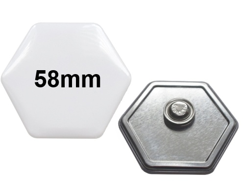 58x65mm Hexagonal-Button mit Textilmagnet