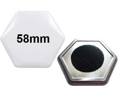 58x65mm Hexagonal-Button mit Klettpunkt