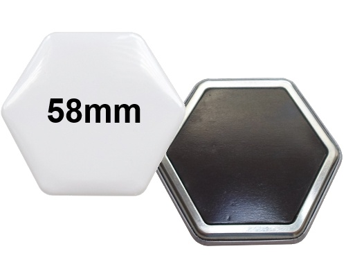 58x65mm Hexagonal-Button mit Softmagnet